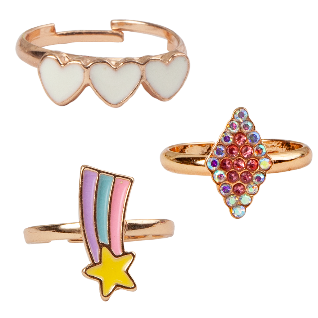 Great Pretenders Boutique Heart Star Rings, 3 pieces