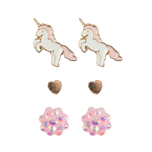 Great Pretenders Boutique Unicorn Studded Earrings, 3 sets