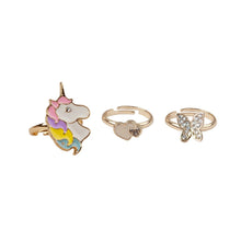 Load image into Gallery viewer, Great Pretenders Boutique Butterfly & Unicorn Rings, 3 pieces