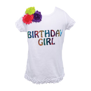 "Reflectionz Rainbow ""Birthday Girl"" Shirt w/ Floral Accents"