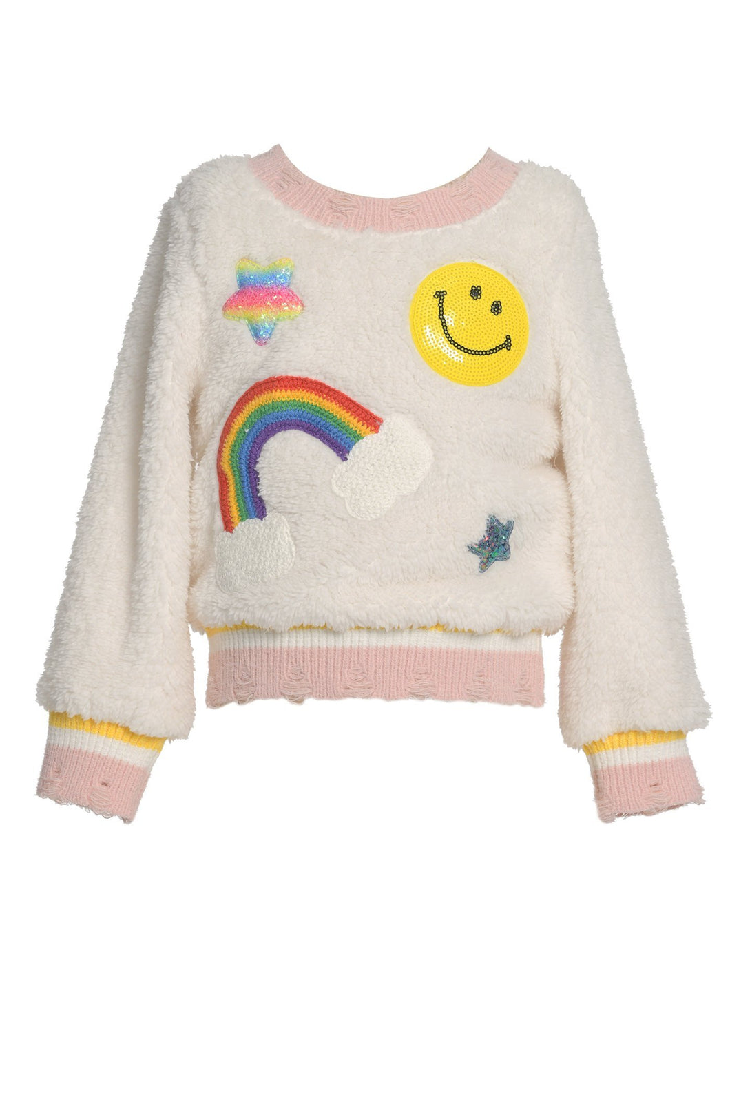 Baby Sara Off White Sherpa Sweater Top W/ Patches