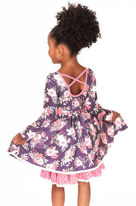 Charlie's Project Delicate Flowers Cross Back L/S Twirl Hugs Dress