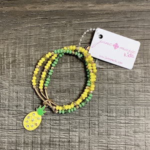 Beaded Bracelet w/ Rhinestone Studded Pineapple Charm by Jane Marie Kids