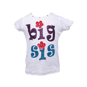 "Reflectionz ""Big Sis"" Shirt w/ Floral Accents"