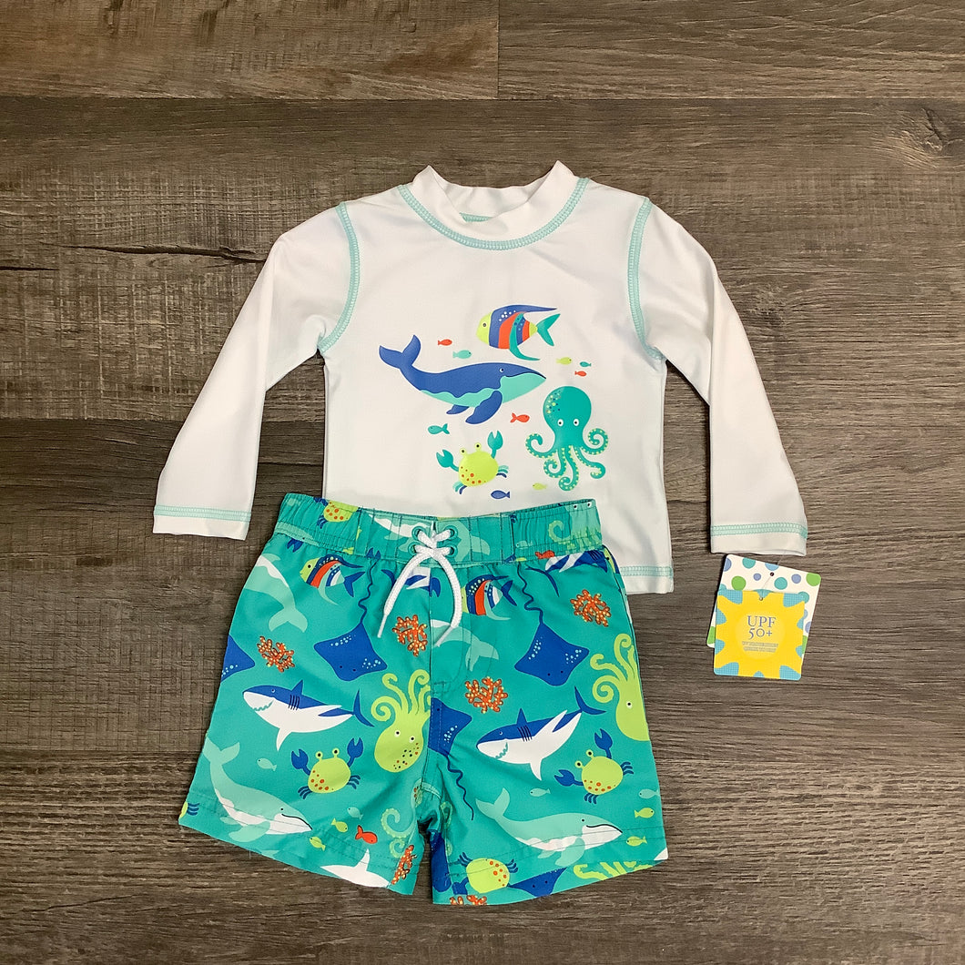 Sea Life Rash Guard And Swim Trunks Set