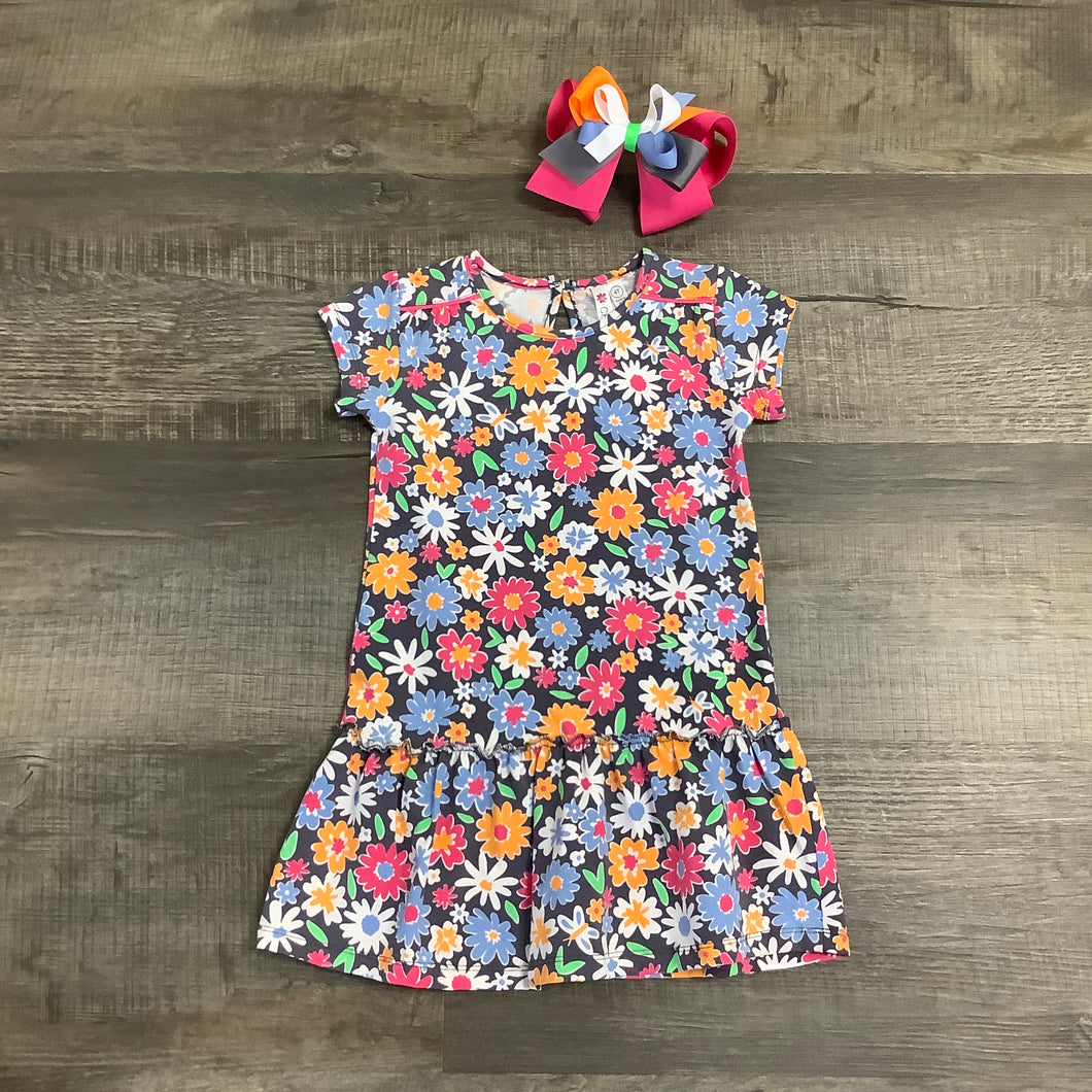 Colorful Floral Charcoal Knit Dress