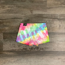 Load image into Gallery viewer, Mid Rise Fray Hem Bright Tie Dye Shorts by Tractr