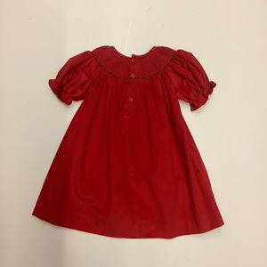 Mom and Me Red Corduroy Smocked Christmas Dress