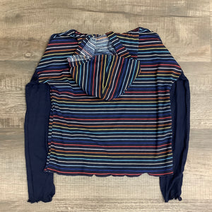 Area Code 407 Girls Navy Primary Rib Stripe Hoodie