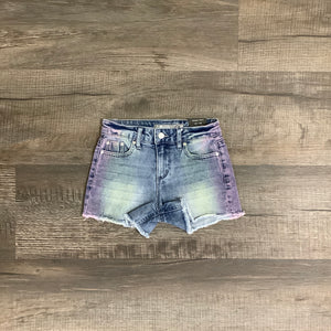 Brittany-Fray Hem Color Ombre Tinted Shorts by Tractr
