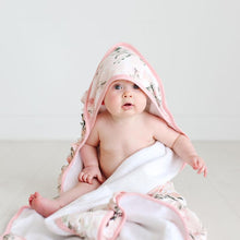 Load image into Gallery viewer, Posh Peanut VINTAGE PINK ROSE Ruffled Hooded Towel