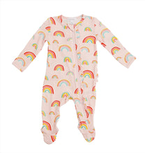 Load image into Gallery viewer, Angel Dear Rainbows Pink Ruffle Front Zipper Footie