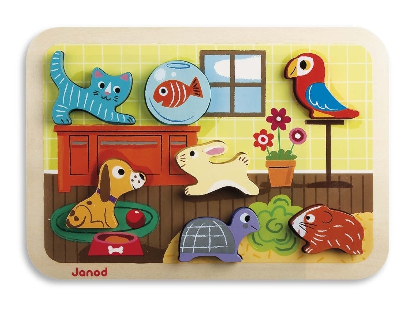 Janod Chunky Friendly Animals Pets Puzzle