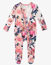 Load image into Gallery viewer, Posh Peanut Dusk Rose Ruffled Zipper Footie