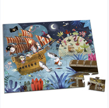 Load image into Gallery viewer, Janod 36-Piece Treasure Hunt Pirates & Sharks Puzzle & Poster