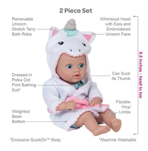 Adora Bath Time Baby Tot  Doll W/ UNICORN Robe