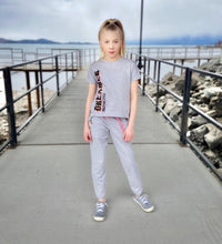 Load image into Gallery viewer, Paper Flower Heather Gray Active Pant W/ Grommets