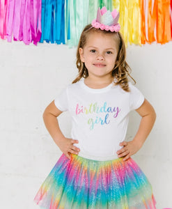 "Sweet Wink Girls Magical Rainbow ""Birthday Girl"" White T Shirt"