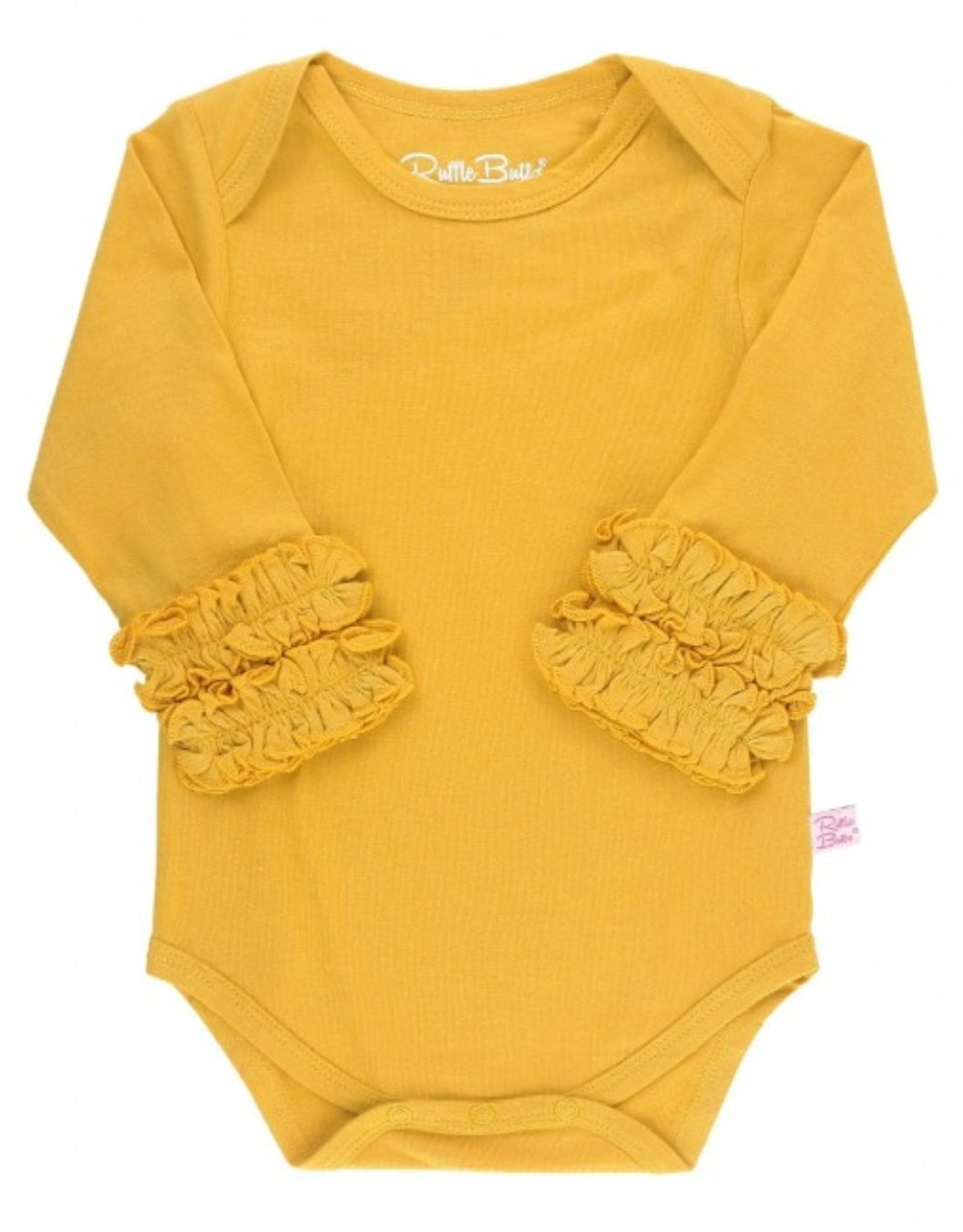 Ruffle Butts Golden Yellow Ruffled Long Sleeve Layering Bodysuit