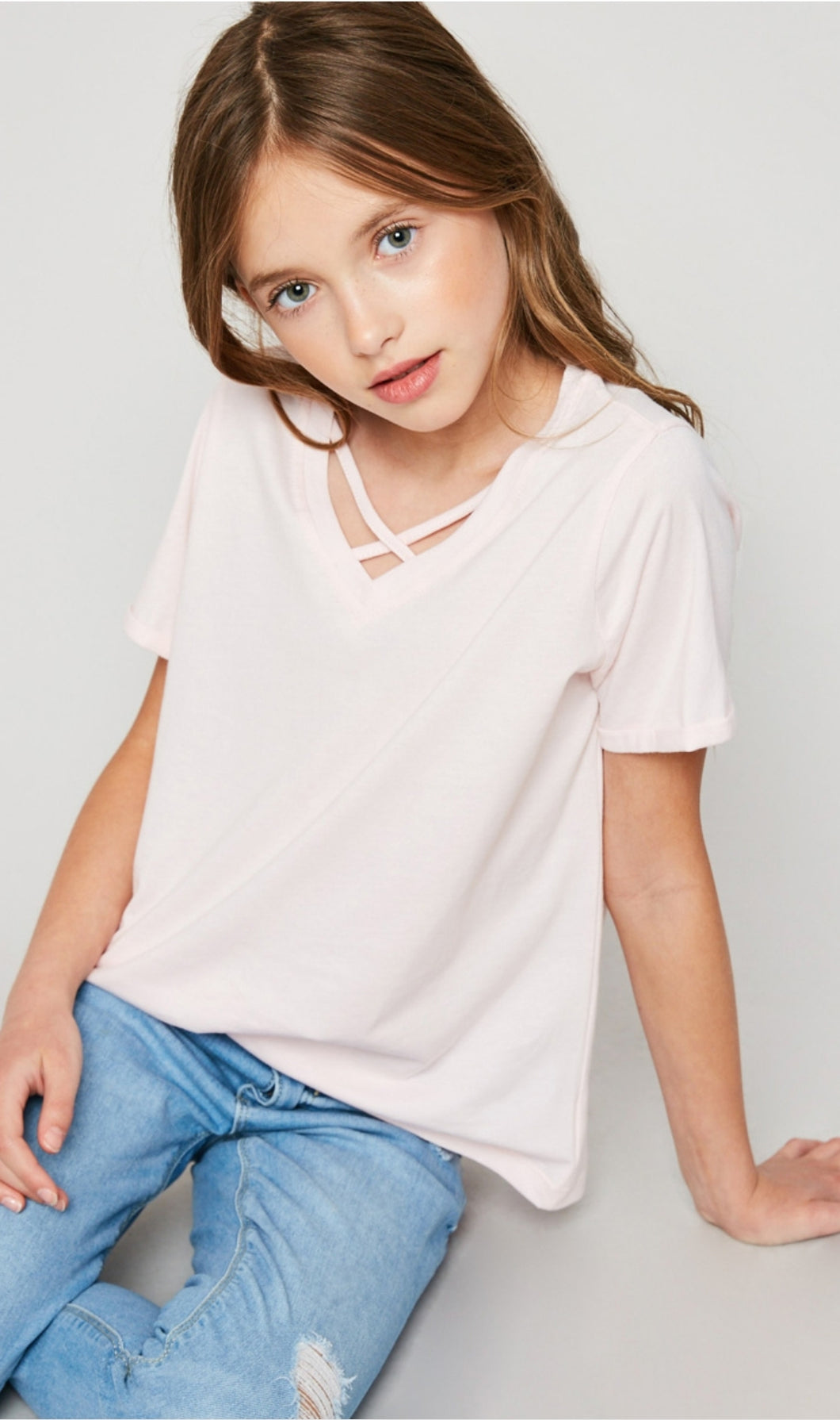 Hayden Girls Pale Pink V-Neck Criss-Cross Tee