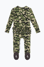 Load image into Gallery viewer, Posh Peanut CADET Camo Ruffled Zipper Footie