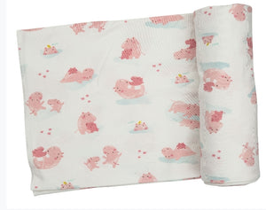 Angel Dear HIPPO PINK Swaddle Blanket