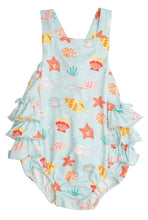 Load image into Gallery viewer, Angel Dear HAPPY SHELLS Turquoise Ruffle Sunsuit