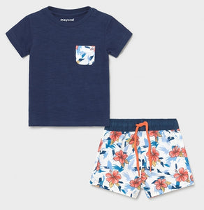 Mayoral Baby Boys Blue Print Swimsuit & T-Shirt Set