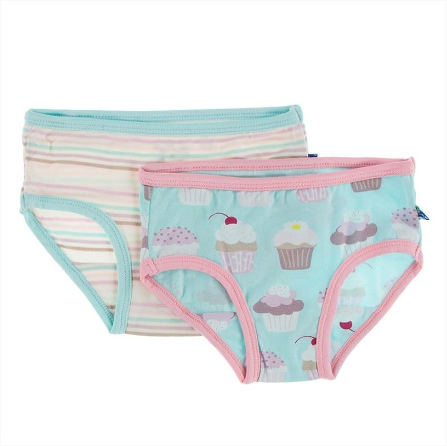 Kickee Pants SUMMER SKY CUPCAKES/STRIPE Underwear Set
