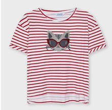 Load image into Gallery viewer, Mayoral Tween COOL KITTY Reverse Sequins Red Stripe T-Shirt