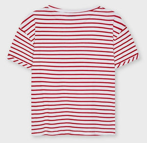Mayoral Tween COOL KITTY Reverse Sequins Red Stripe T-Shirt