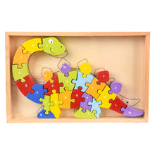 Load image into Gallery viewer, The Toy Network Wooden Dino Letter Puzzles