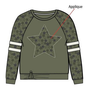 Paper Flower Olive Applique Star Sweatshirt