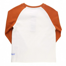 Load image into Gallery viewer, Rugged Butts Orange Spice & Ivory Raglan Henley Tee