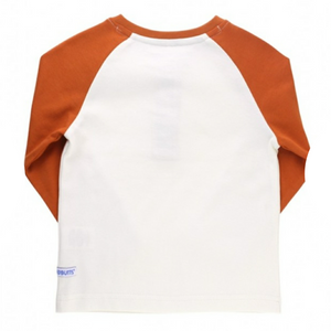 Rugged Butts Orange Spice & Ivory Raglan Henley Tee