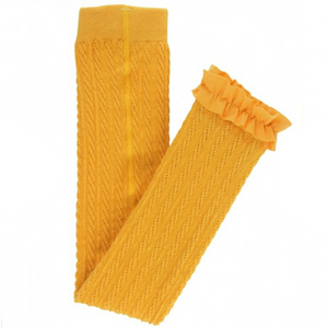 Ruffle Butts Golden Yellow Cable-Knit Footless Ruffle Tights