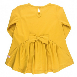 Ruffle Butts Golden Yellow Long Sleeve Bow-Back Top