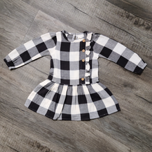 Load image into Gallery viewer, City Mouse Buffalo Black & White Check Drop Waist Button Dress