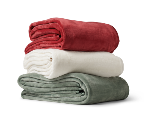stack of blankets in different colors