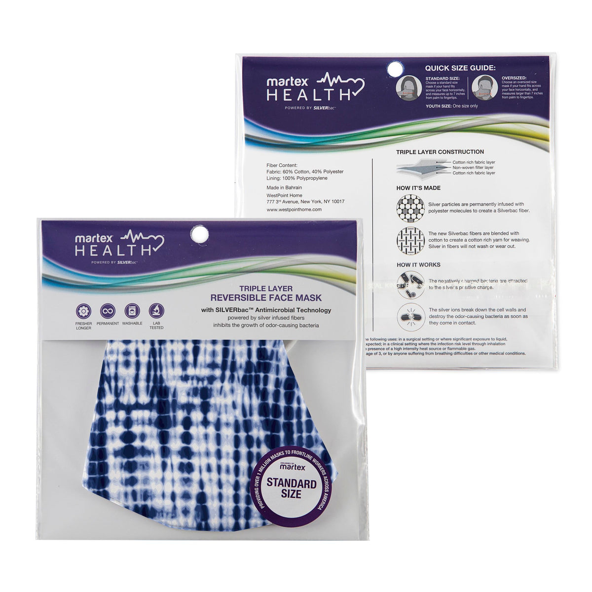 Martex Health Triple Layer Standard Tie Dye Face Mask with SILVERbac™ Antimicrobial Technology