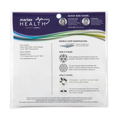 Martex Health Face Mask with SILVERbac™ Antimicrobial Technology - 10 Pack