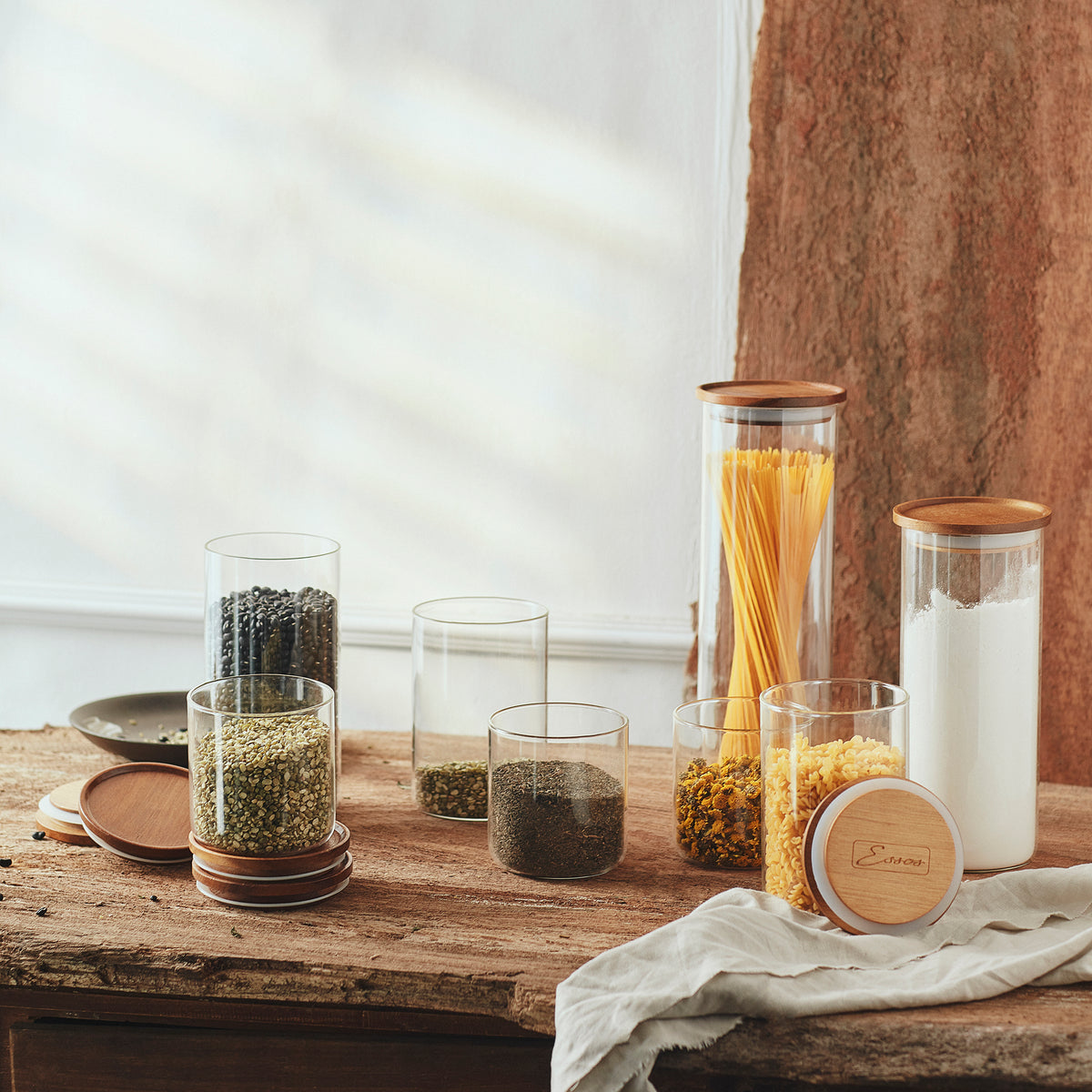 Glass Jars with Wood Lids