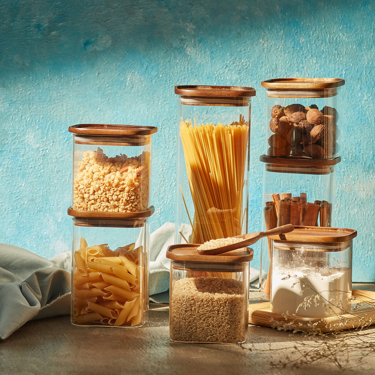 Square Glass Jars with Wood Lids