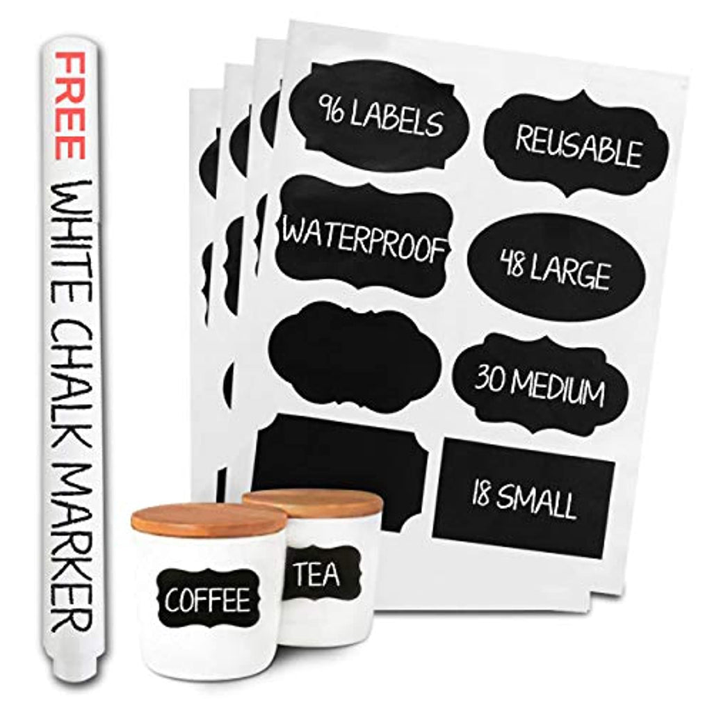 Chalkboard Labels with Erasable Chalk Pen - Glass Jar Labels