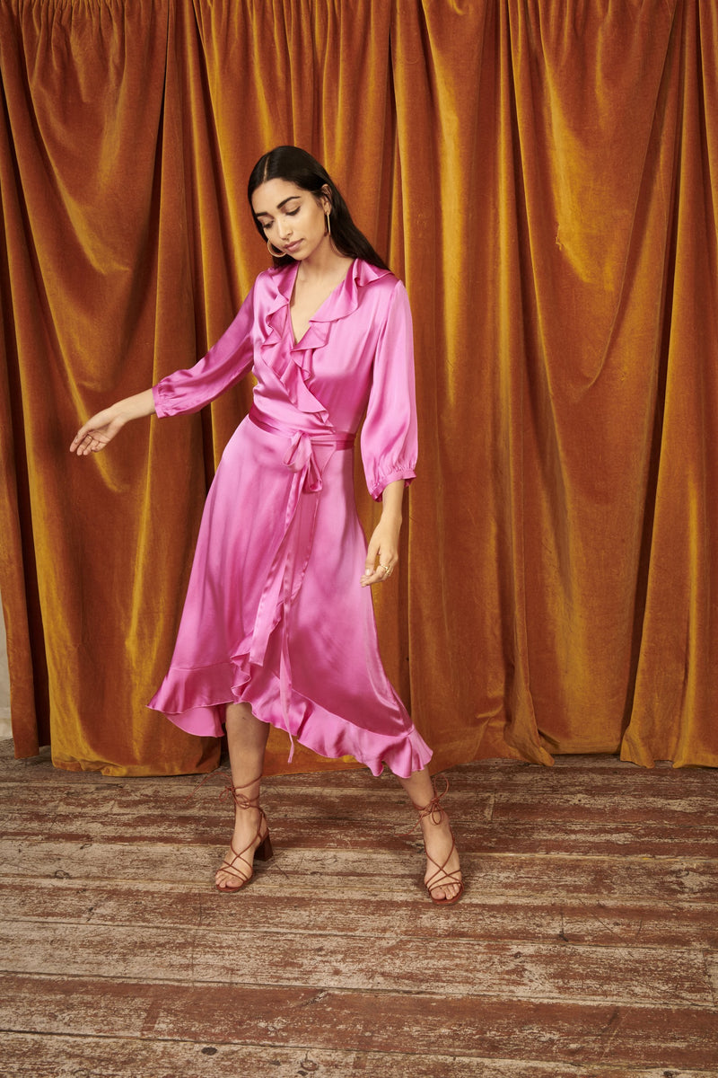 Yolke Raspberry Silk Josephine Wrap Dress