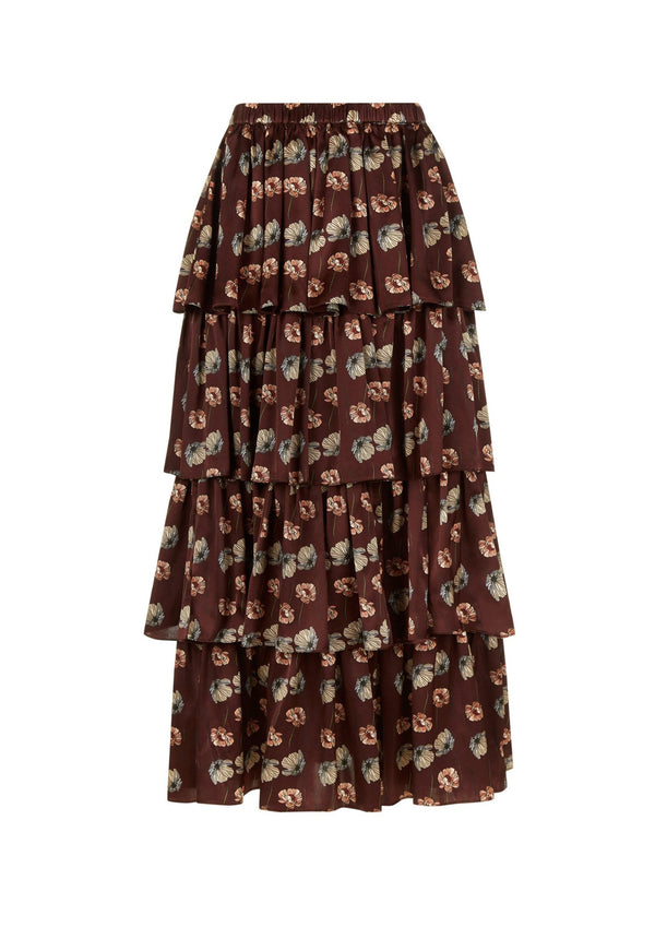 Phoebe Grace Charlie Skirt in Burgundy Poppy