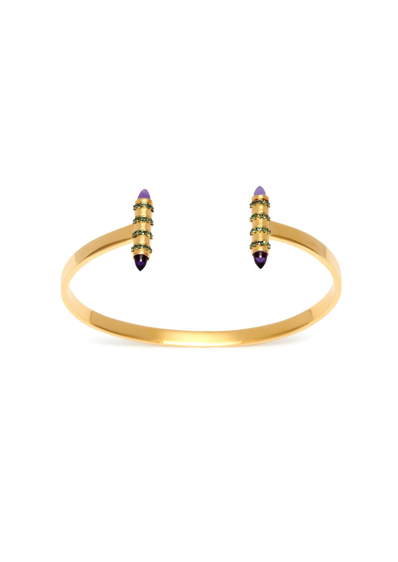 Assya London Amethyst & Tsavorite Bullet Bangle