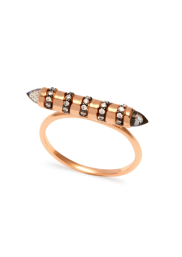 Assya London Labradorite & Grey Diamonds Bullet Stacking Ring