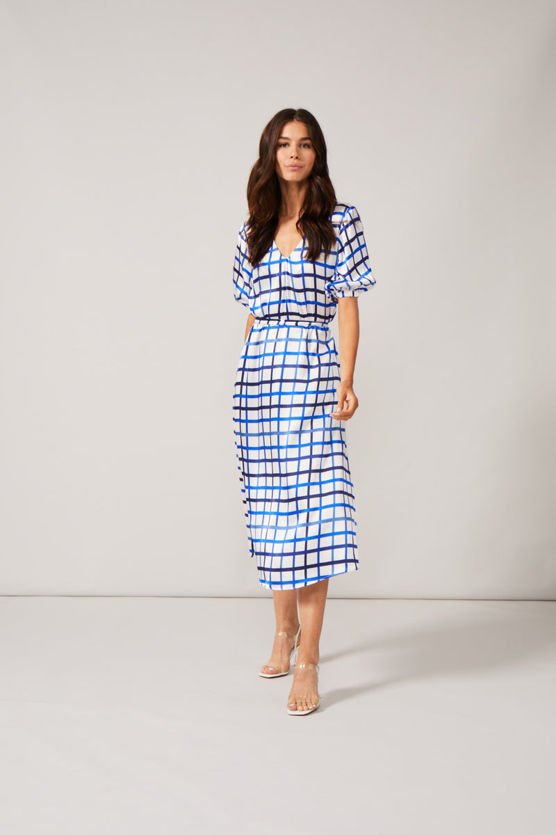 Phoebe Grace Noora Dress in Blue / White Check