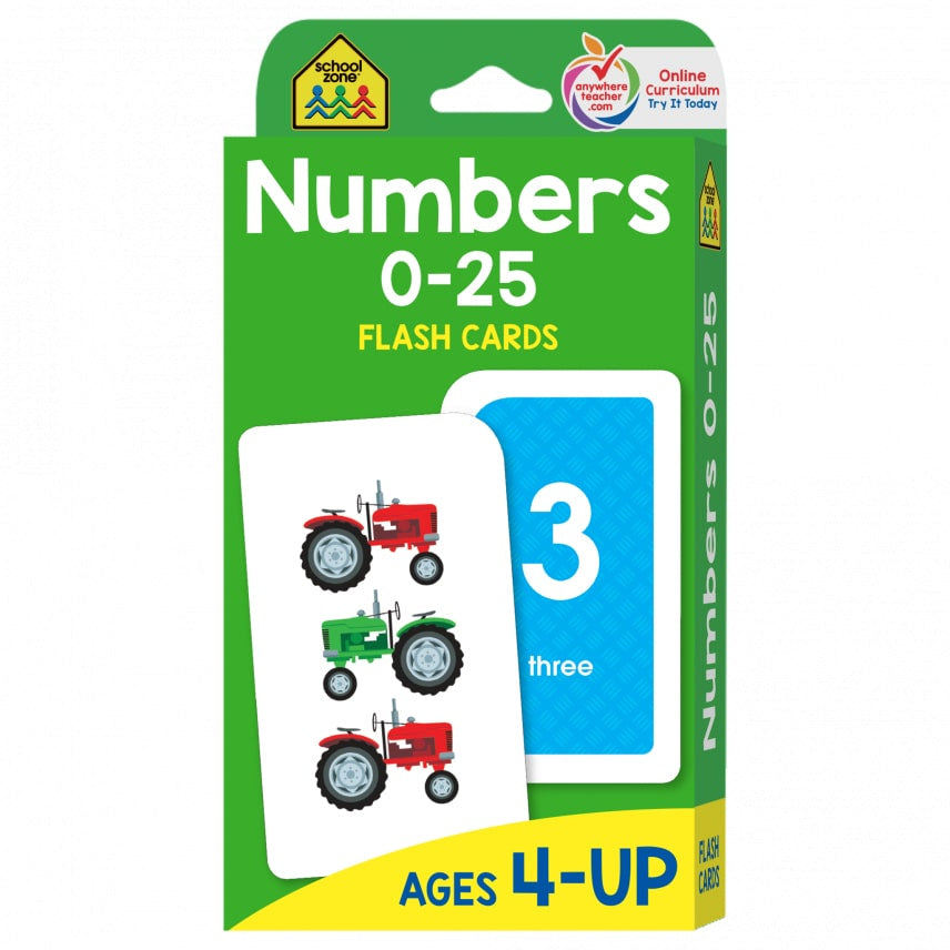 SCHOOL ZONE: NUMBERS 0-25 FLASH CARDS